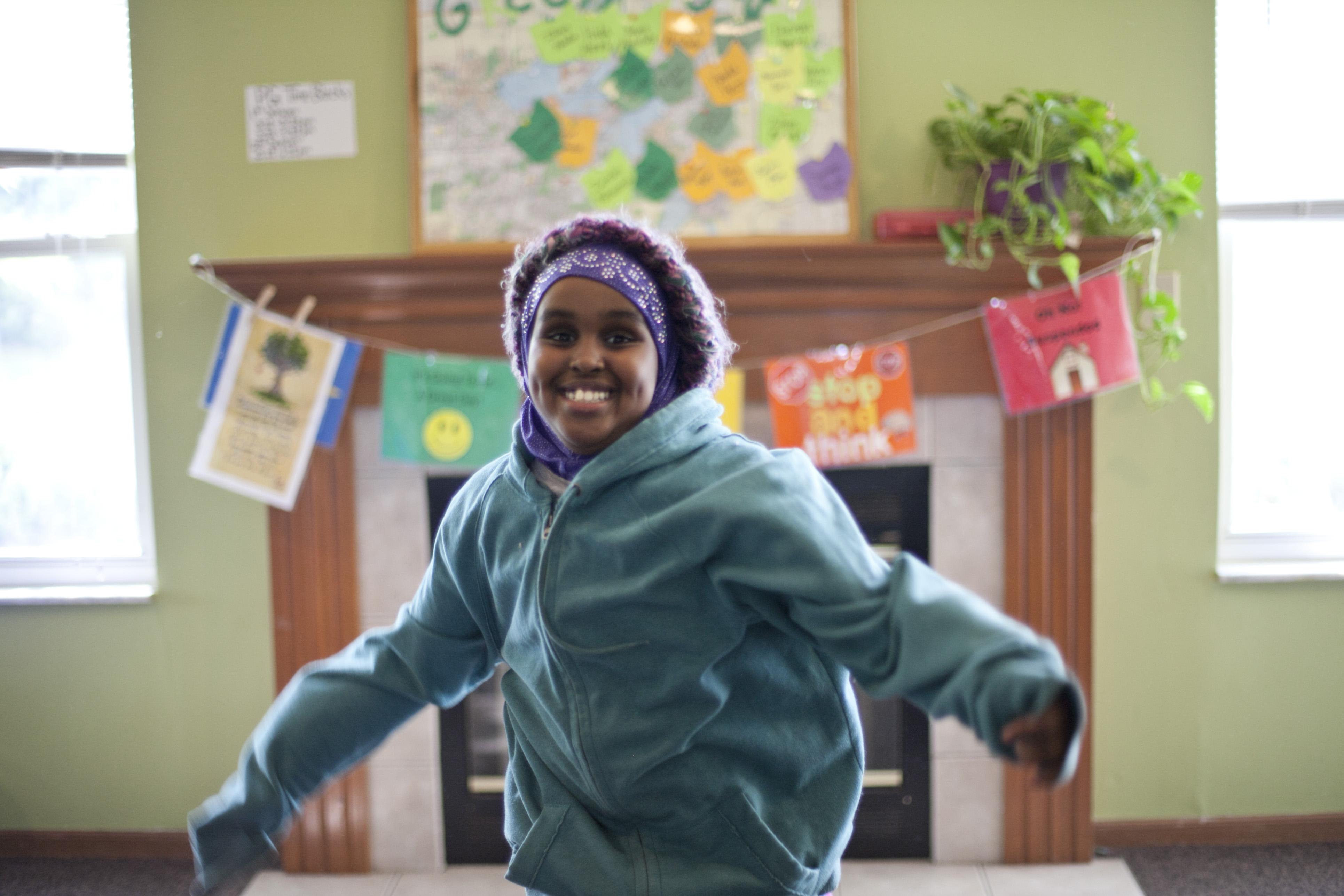 An exuberant student at Providence Glen